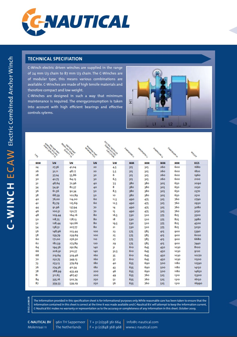 C-Winch ECAW specifications