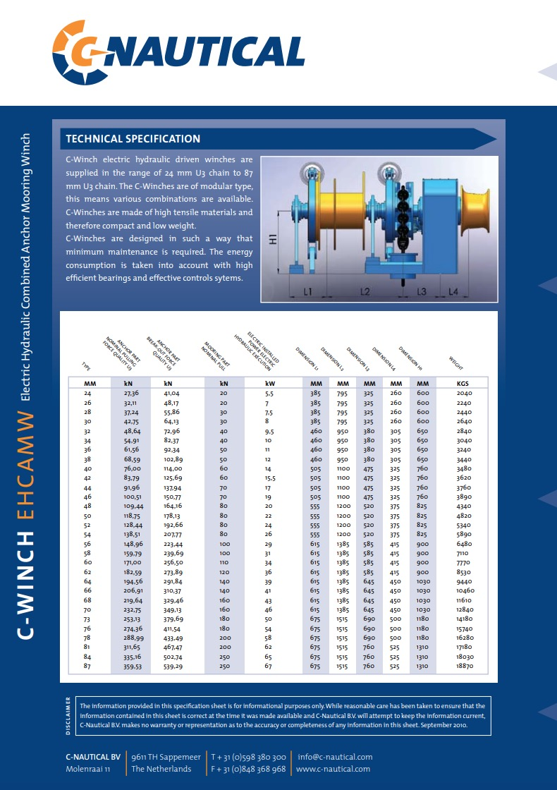 C-Winch EHCAMW specifications