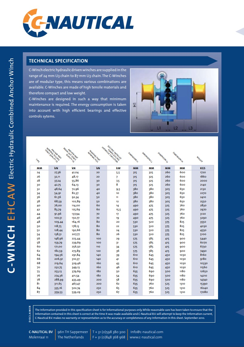 C-Winch EHCAW specifications